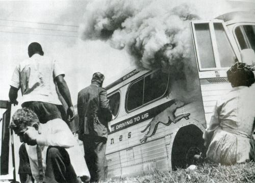 Freedom Riders Greyhound bus firebombed by white supremacists in Alabama in 1961