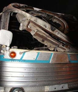 Charred hulk of the firebombed Greyhound bus on display at the National Civil Rights Museum in Memphis, Tennessee. Photo Credit: Tom Wilmer
