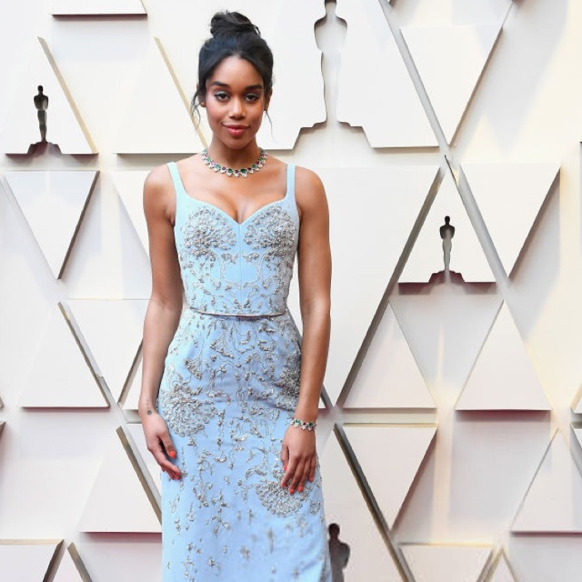 ddfe3c37d493 Laura Harrier In Ethical Louis Vuitton Gown