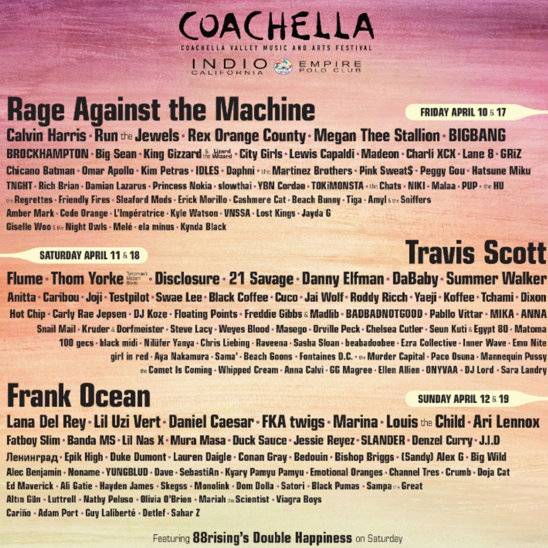 Coachella, travis scott, frank ocean, rage against the machine, 360 MAGAZINE